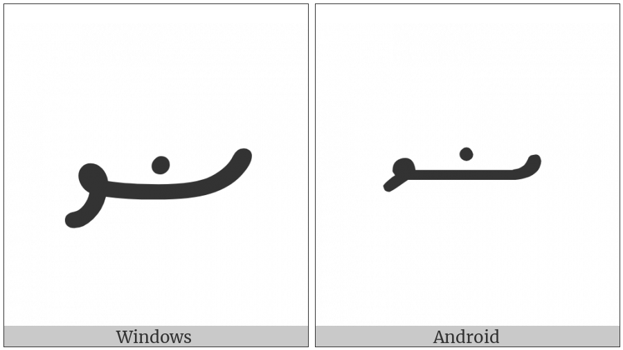 Thaana Letter Daadhu on various operating systems