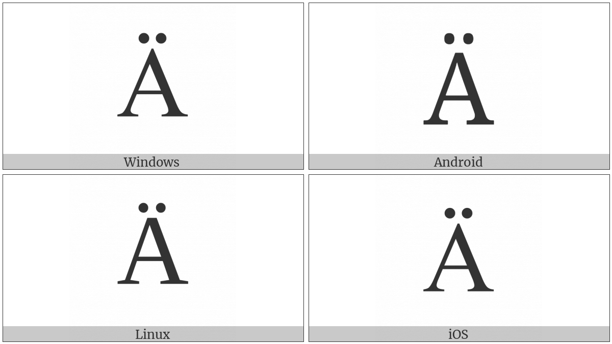 Latin Capital Letter A With Diaeresis on various operating systems