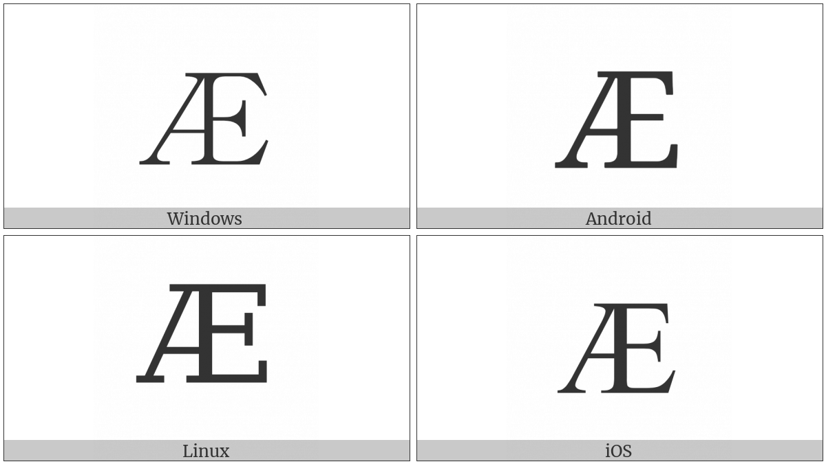 Latin Capital Letter Ae on various operating systems