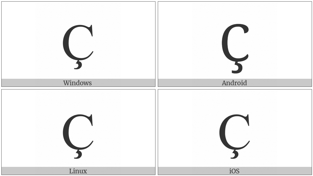 Latin Capital Letter C With Cedilla on various operating systems