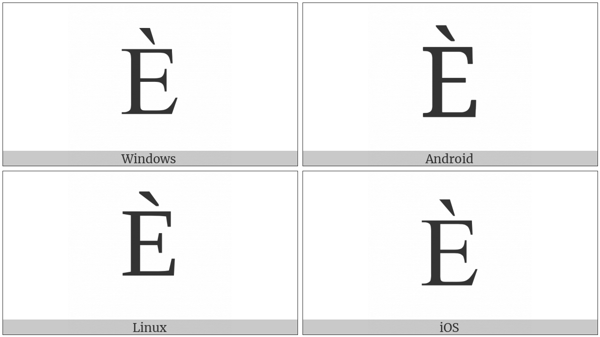 Latin Capital Letter E With Grave on various operating systems