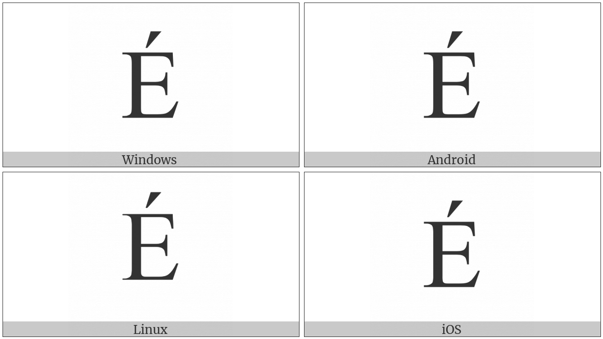 Latin Capital Letter E With Acute on various operating systems