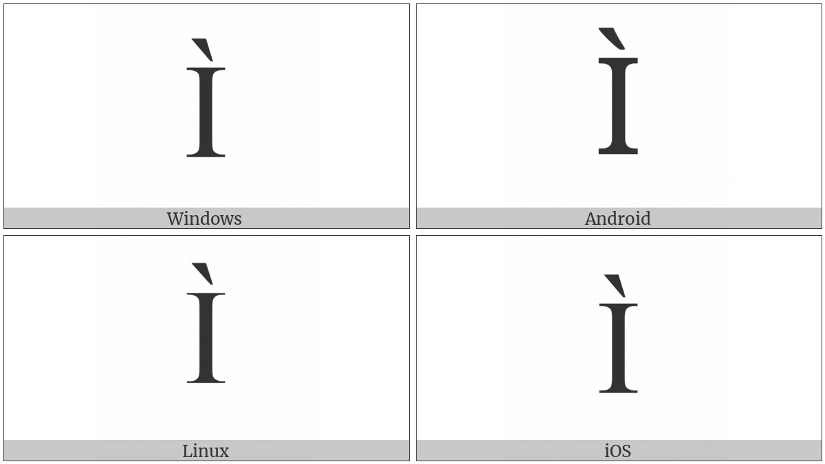Latin Capital Letter I With Grave on various operating systems