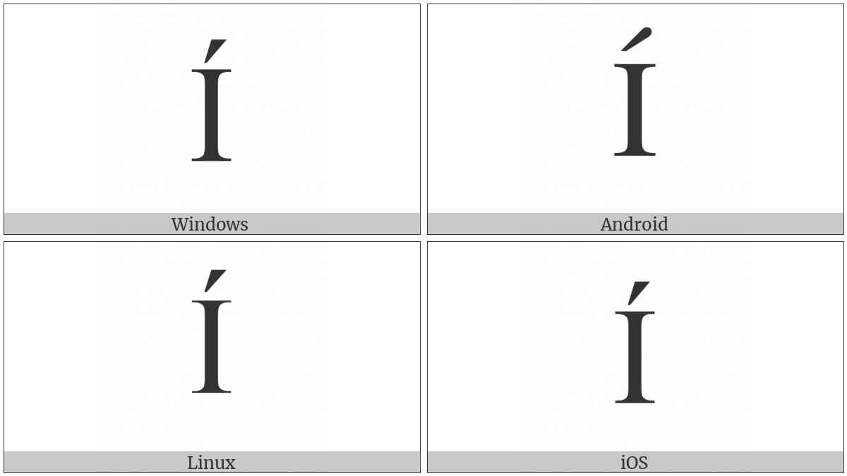 Latin Capital Letter I With Acute on various operating systems