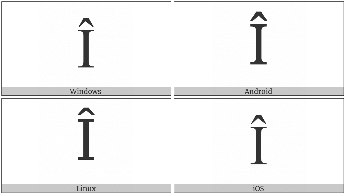 Latin Capital Letter I With Circumflex on various operating systems