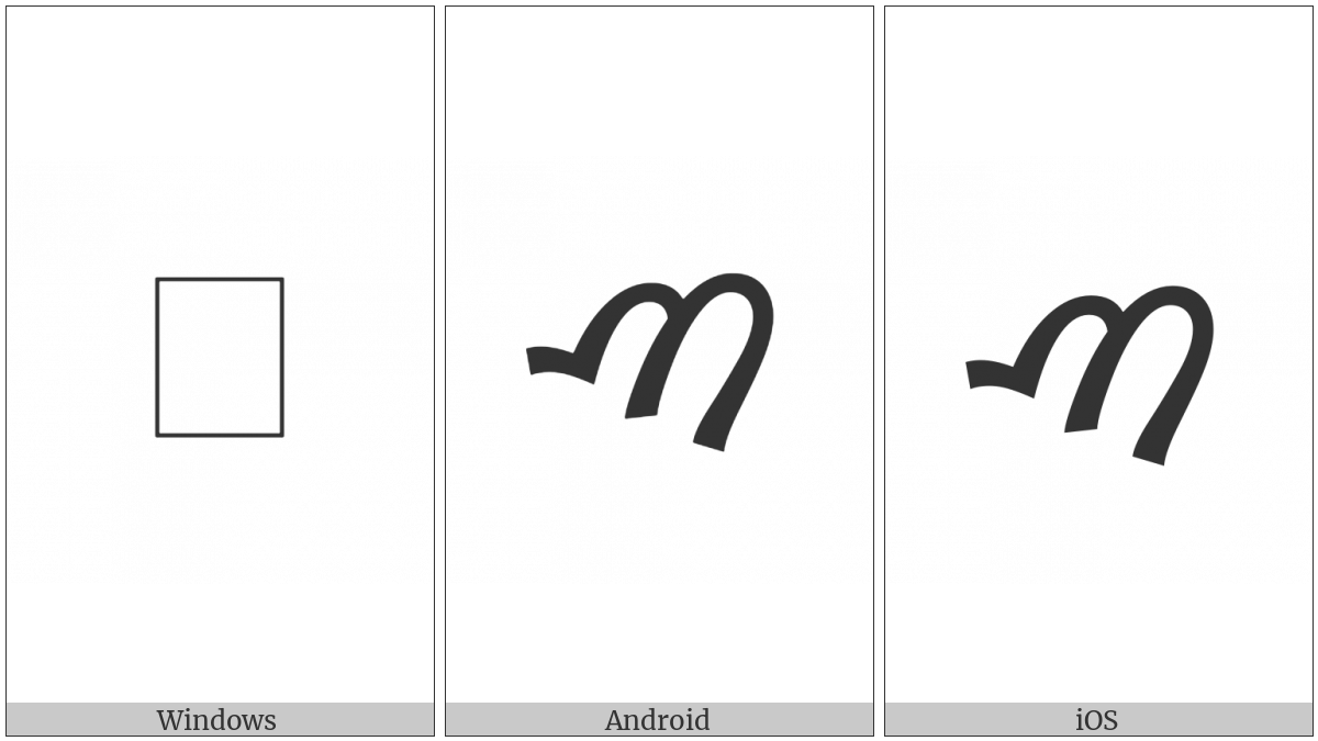 Samaritan Letter Tsaadiy on various operating systems