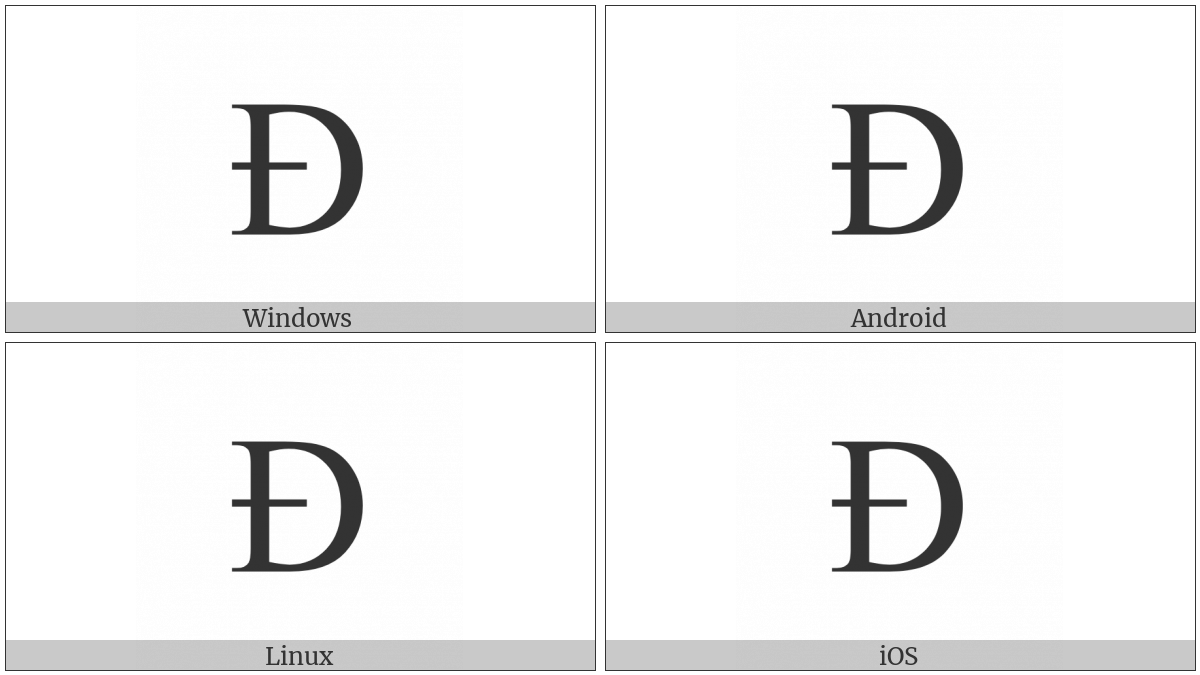 Latin Capital Letter Eth on various operating systems