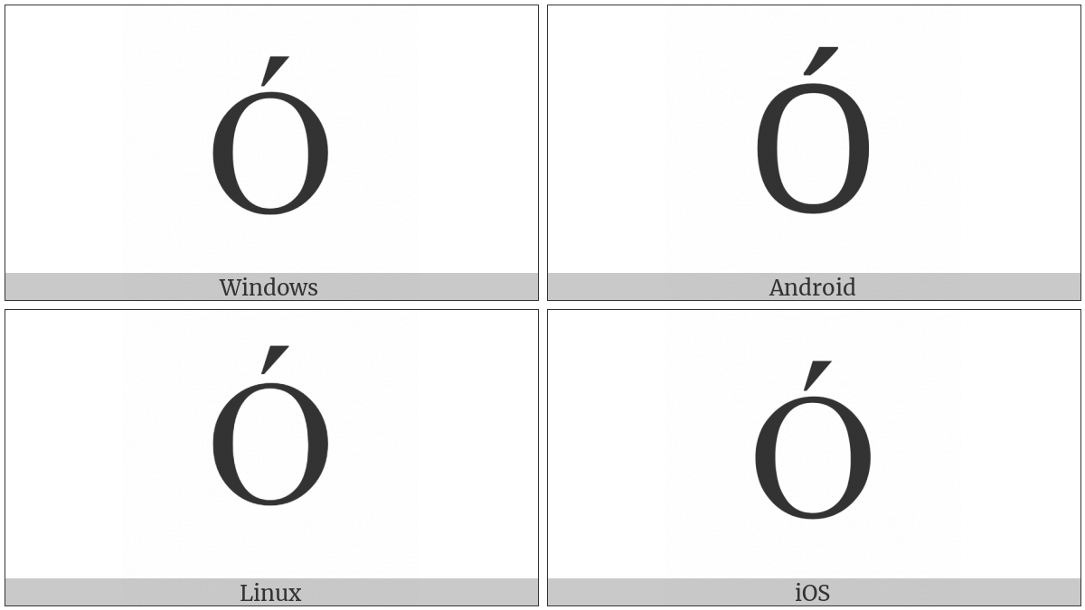 Latin Capital Letter O With Acute on various operating systems