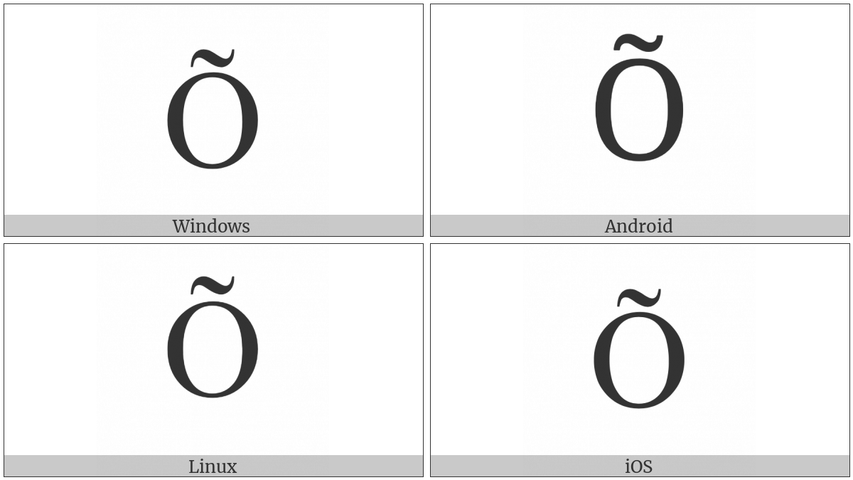 Latin Capital Letter O With Tilde on various operating systems