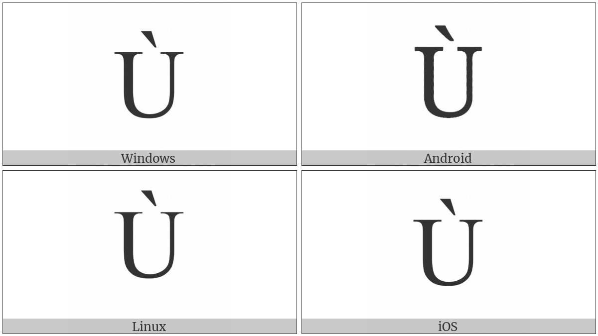Latin Capital Letter U With Grave on various operating systems