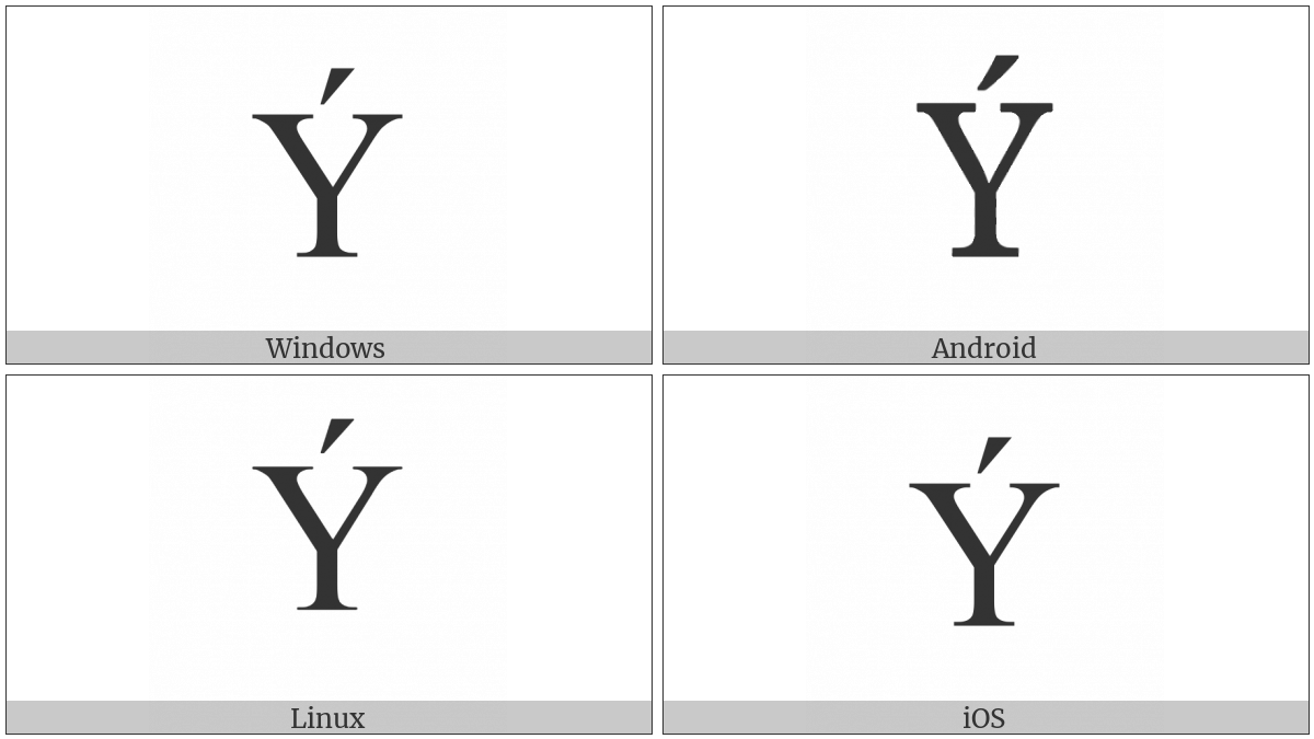 Latin Capital Letter Y With Acute on various operating systems
