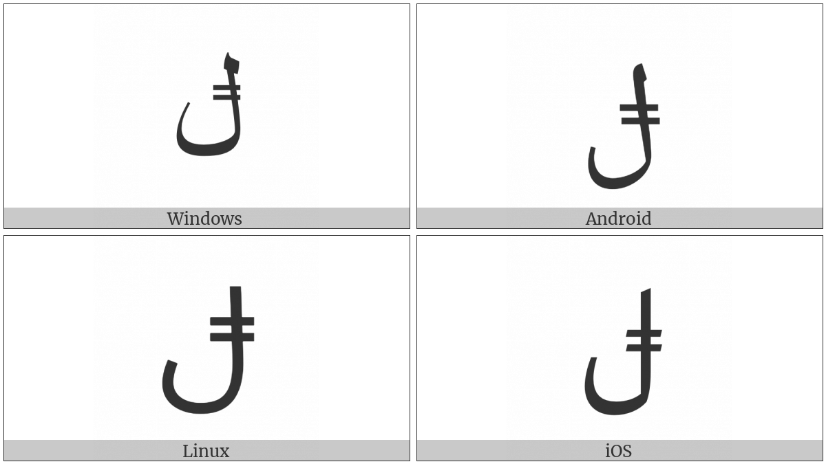 Arabic Letter Lam With Double Bar on various operating systems
