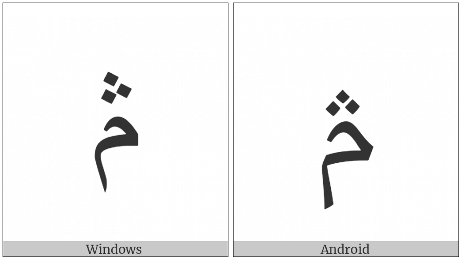 Arabic Letter Meem With Three Dots Above on various operating systems