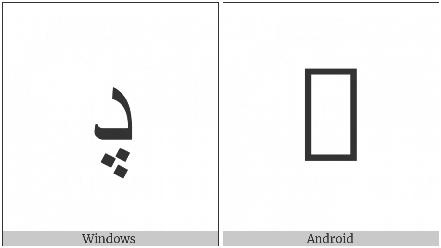 Arabic Letter Dal With Three Dots Below on various operating systems