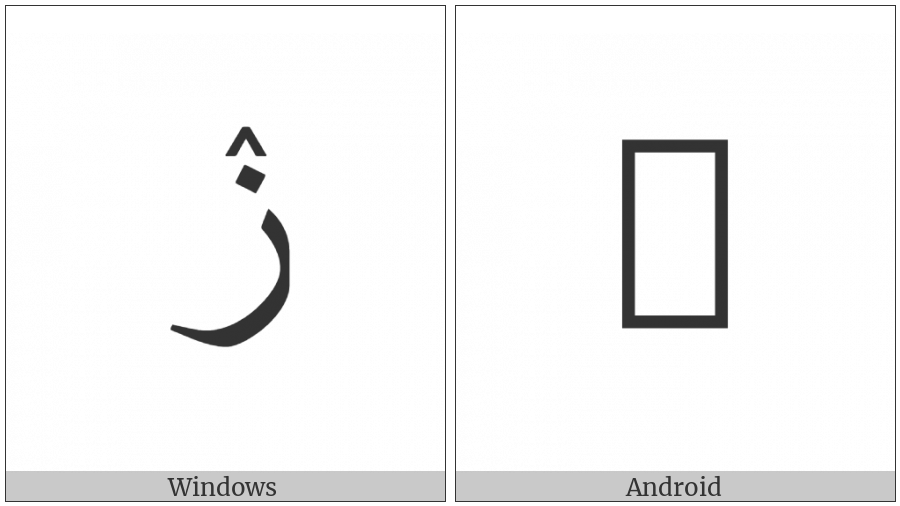 Arabic Letter Zain With Inverted V Above on various operating systems