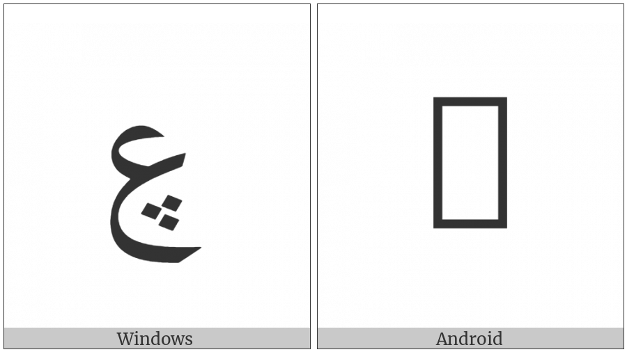 Arabic Letter Ain With Three Dots Below on various operating systems