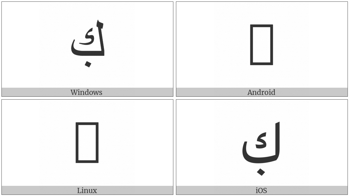 Arabic Letter Kaf With Dot Below on various operating systems