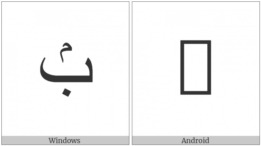 Arabic Letter Beh With Small Meem Above on various operating systems