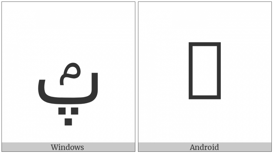 Arabic Letter Peh With Small Meem Above on various operating systems