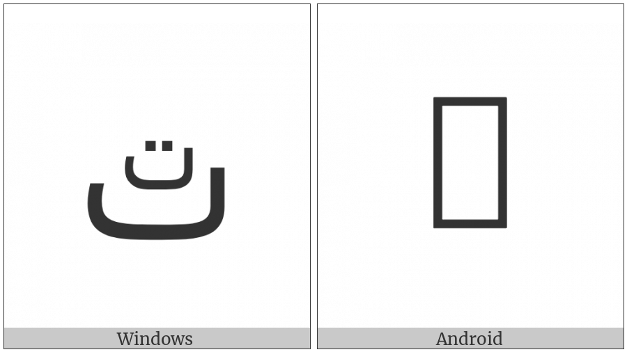 Arabic Letter Teh With Small Teh Above on various operating systems