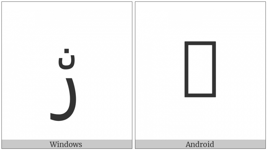 Arabic Letter Reh With Small Noon Above on various operating systems