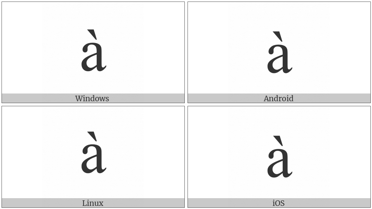 Latin Small Letter A With Grave on various operating systems