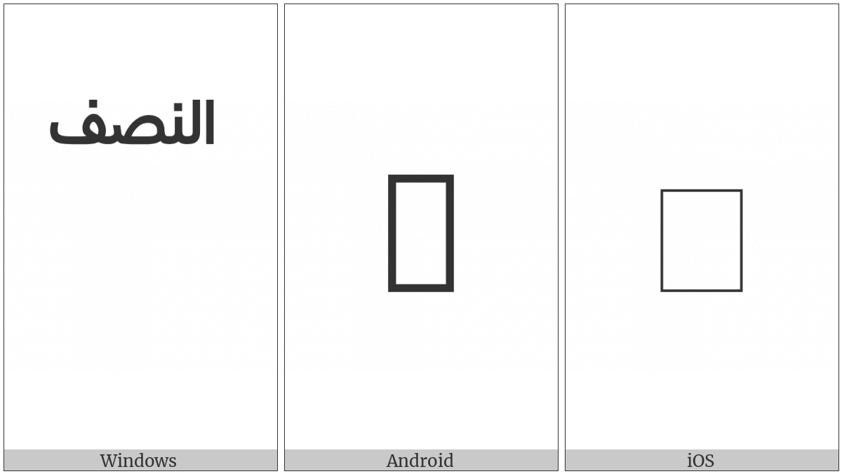 Arabic Small High Word An-Nisf on various operating systems