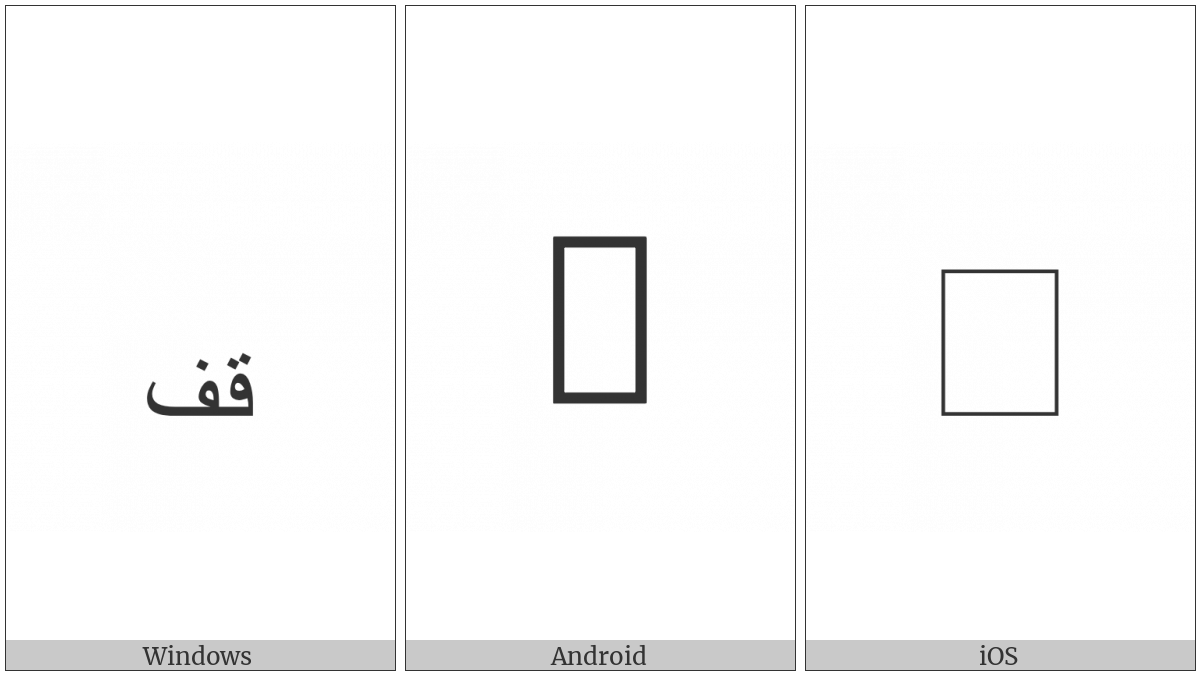 Arabic Small High Word Qif on various operating systems