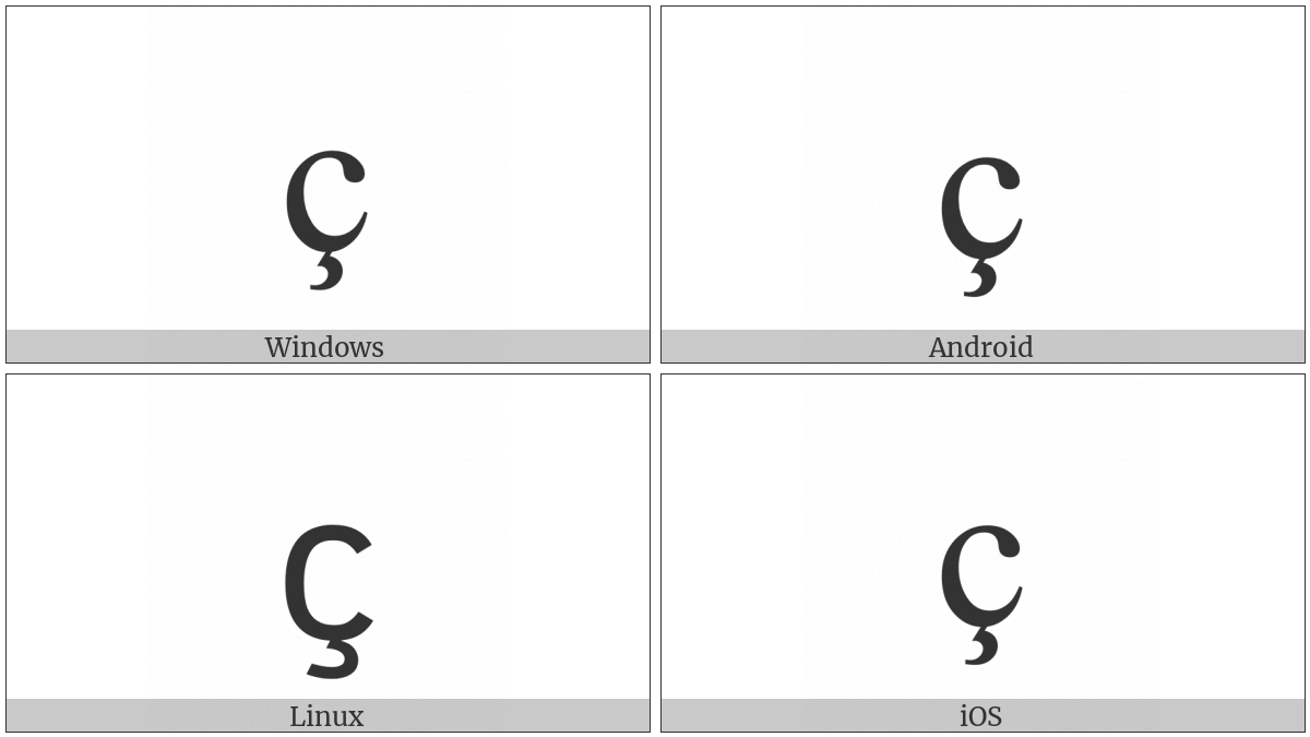 Latin Small Letter C With Cedilla on various operating systems