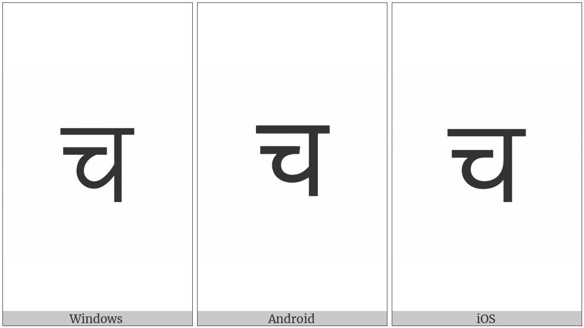 Devanagari Letter Ca on various operating systems