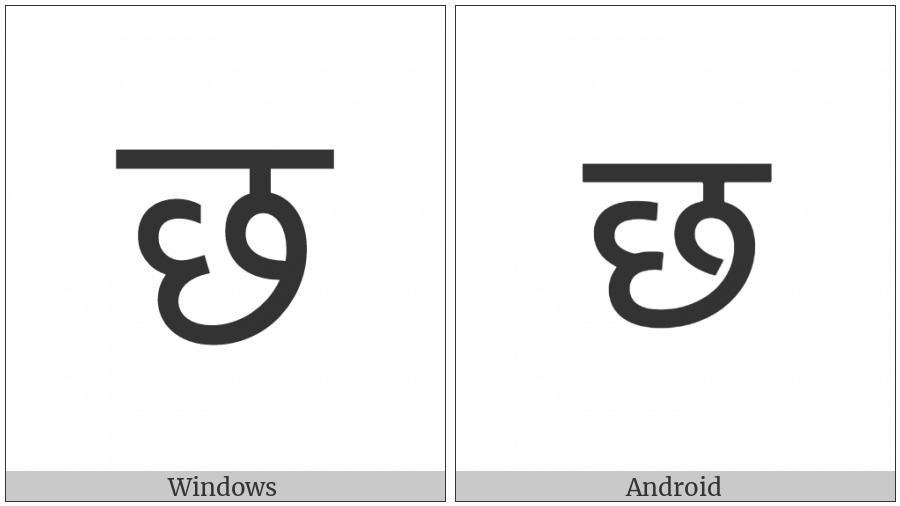 Devanagari Letter Cha on various operating systems