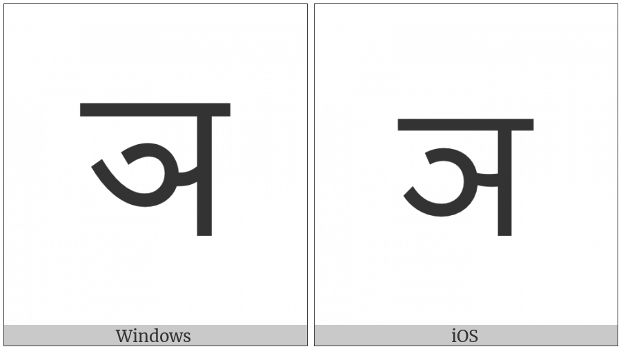 Devanagari Letter Nya on various operating systems