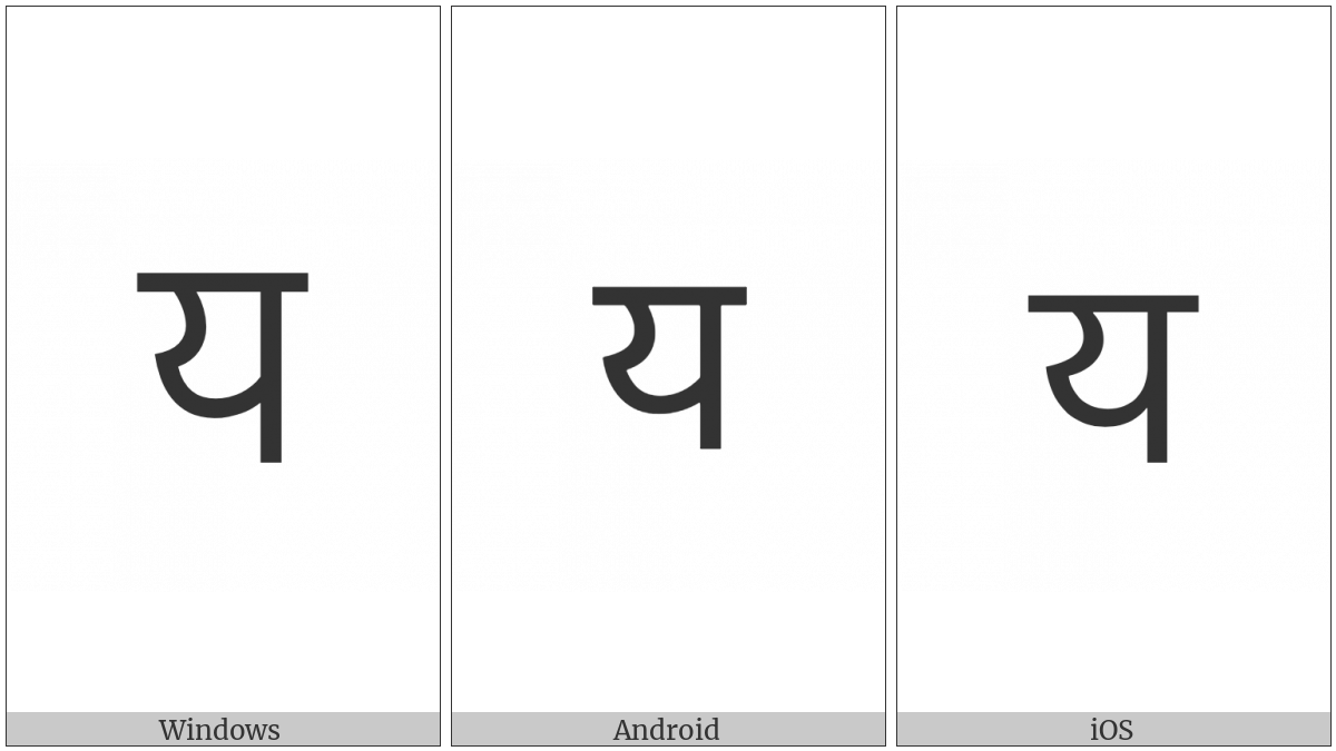 Devanagari Letter Ya on various operating systems