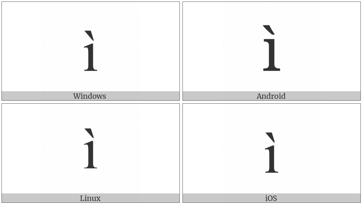 Latin Small Letter I With Grave on various operating systems