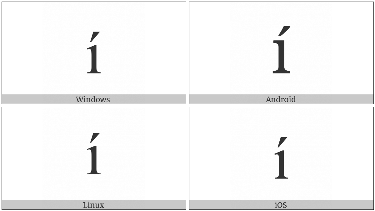 Latin Small Letter I With Acute on various operating systems
