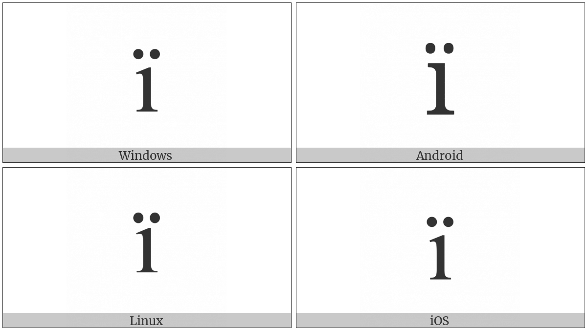 Latin Small Letter I With Diaeresis on various operating systems