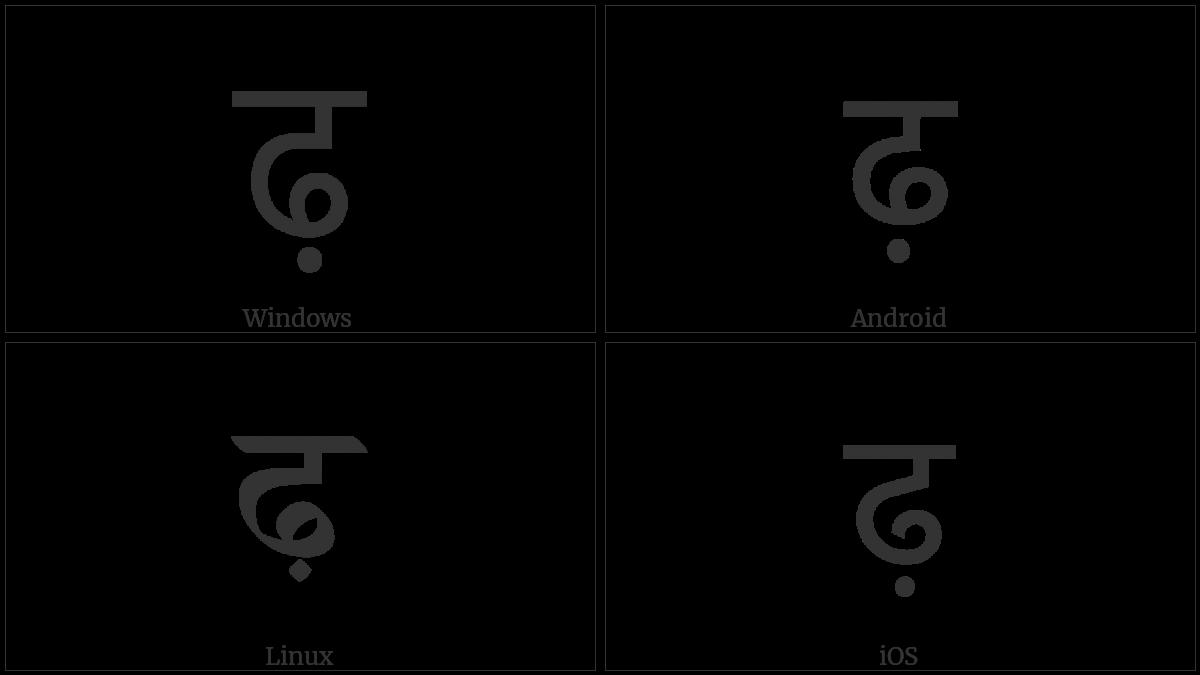 Devanagari Letter Rha on various operating systems