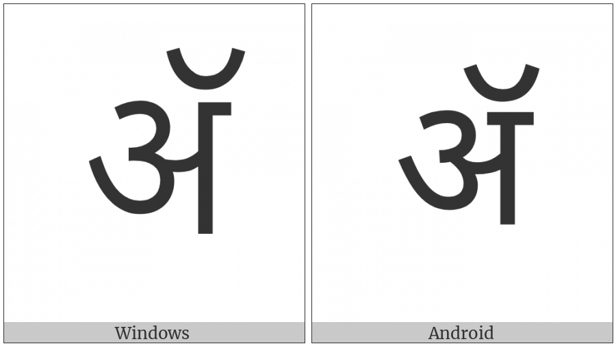 Devanagari Letter Candra A on various operating systems