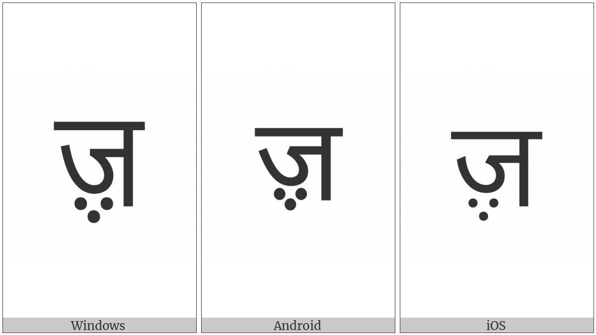 Devanagari Letter Zha on various operating systems