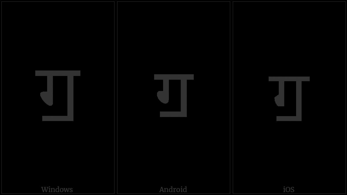 Devanagari Letter Gga on various operating systems