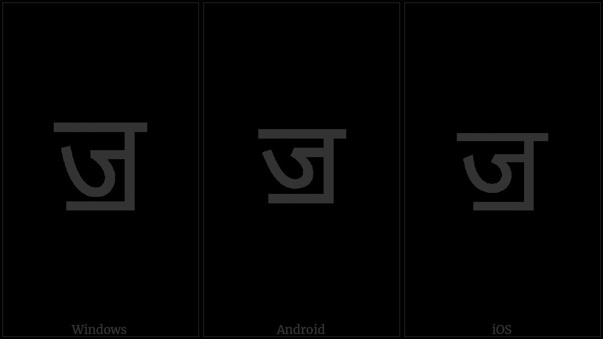 Devanagari Letter Jja on various operating systems