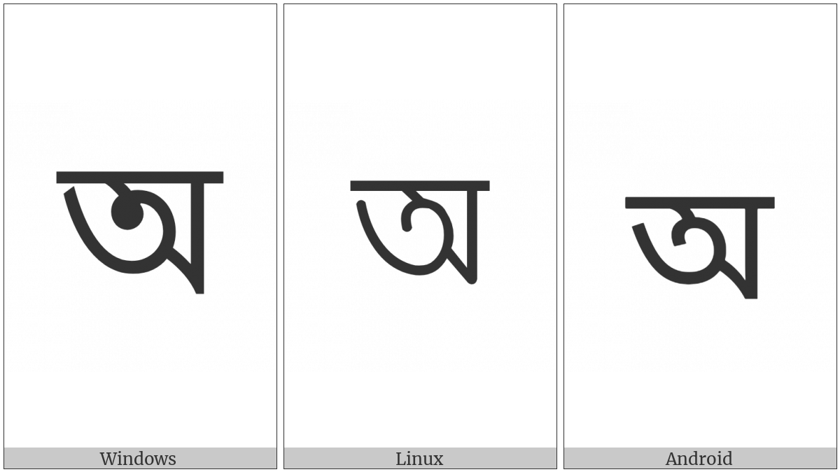 Bengali Letter A on various operating systems
