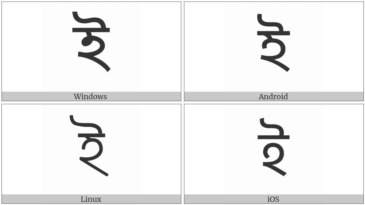 Bengali Letter I on various operating systems