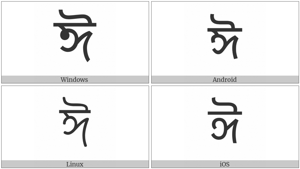 Bengali Letter Ii on various operating systems