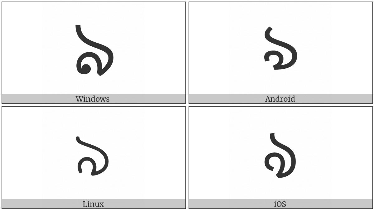 Bengali Letter Vocalic L on various operating systems