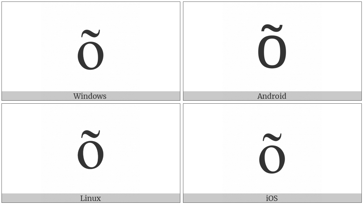Latin Small Letter O With Tilde on various operating systems