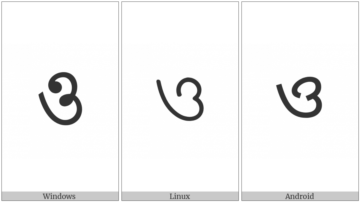Bengali Letter O on various operating systems