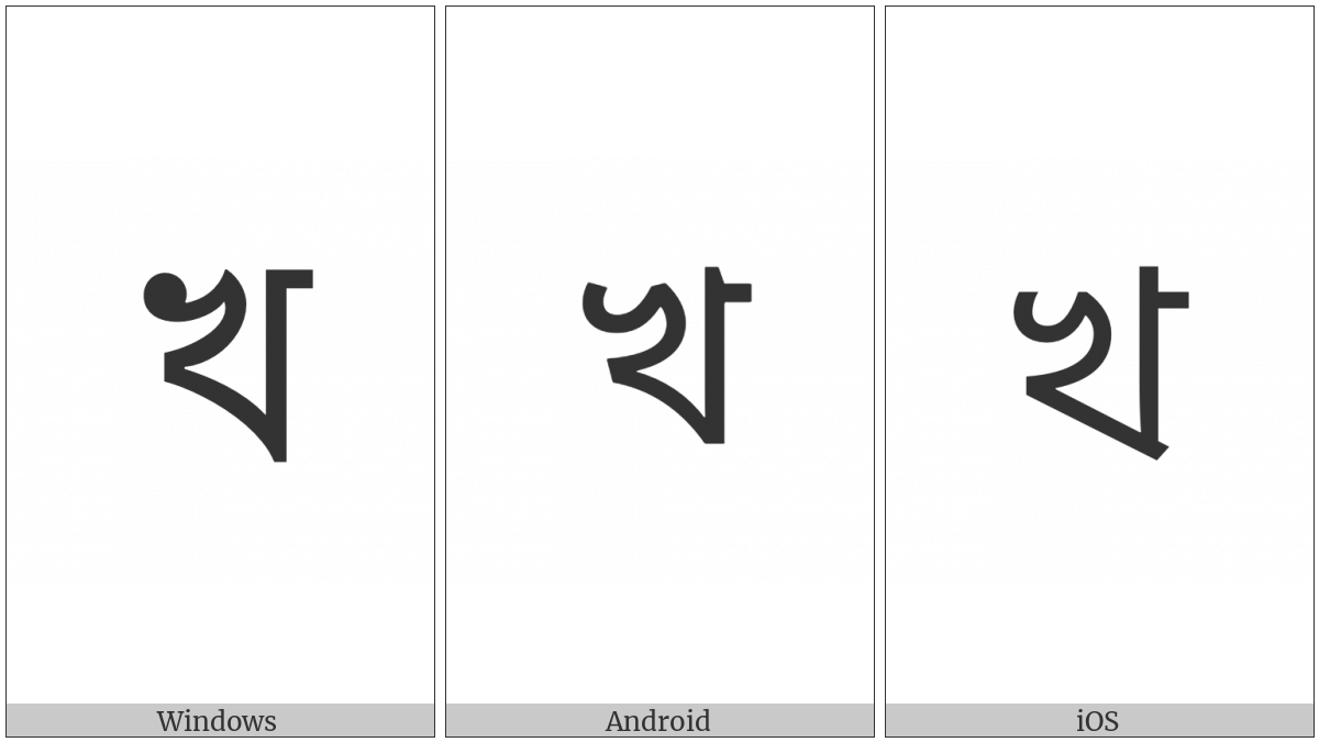 Bengali Letter Kha on various operating systems