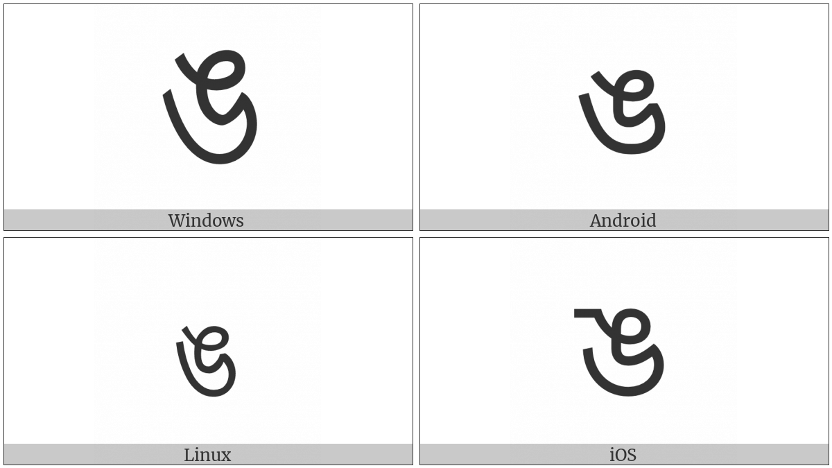 Bengali Letter Nga on various operating systems