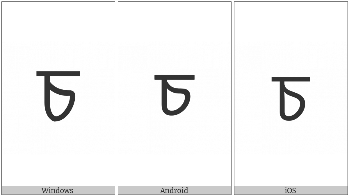 Bengali Letter Ca on various operating systems